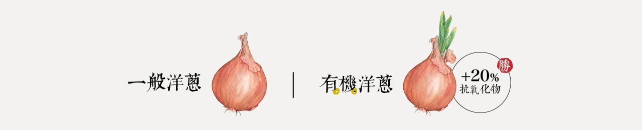 有機洋蔥比一般洋蔥多出20%的抗氧化物